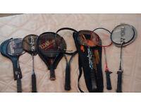 Tennis & Badmington racket bat job lot X 7 - HEAD, WILSON, DONNAY, CARLTON
