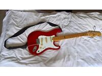 Merlin Flanger, Electric Guitar. Red and white classic, late 80's model, cream dials and beach fret.