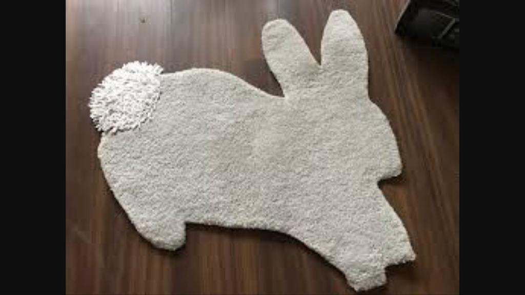Mamas And Papas Grey Wool Bunny Rabbit Nursery Rug