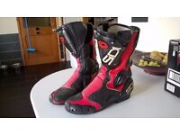 Sidi - Red Leather/Carbon - Motorcycle Boots - Size 9