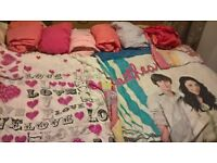 girls love and high school musical quilt cover sets plus 5 fitted sheets, and 4 pink pillow covers