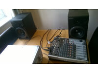 roland ds 5 monitors and 1204 bxenys behringer usb mixer and mic