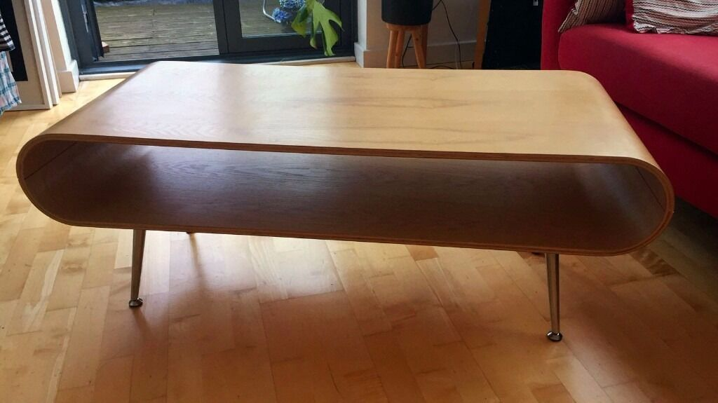 Natural Ash Curved Plywood Storage Coffee Table Part 91