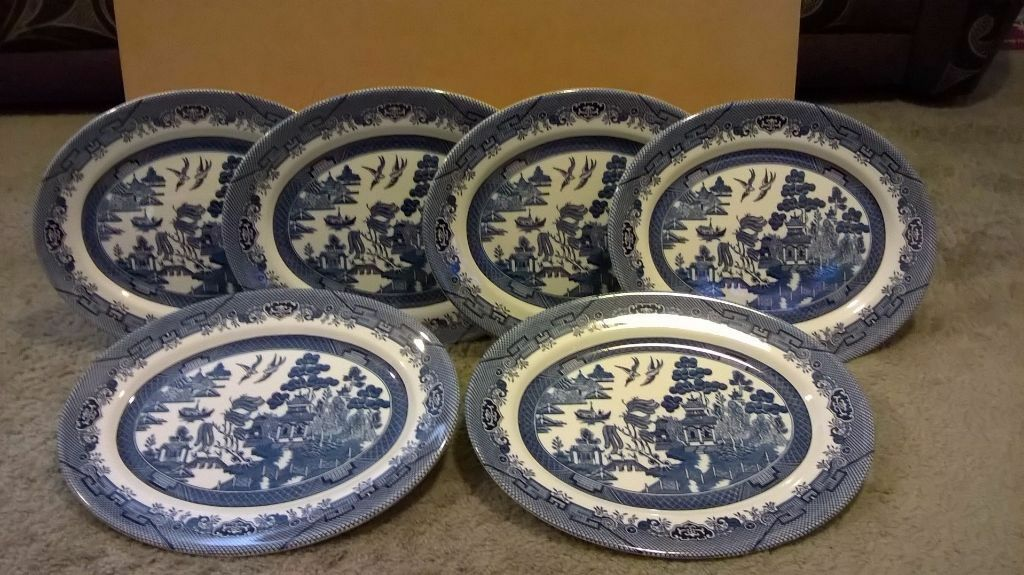 Dinner Plates X6 And Platter Plate X1 Willow Pattern & Willow Pattern Dinner Plates - Castrophotos
