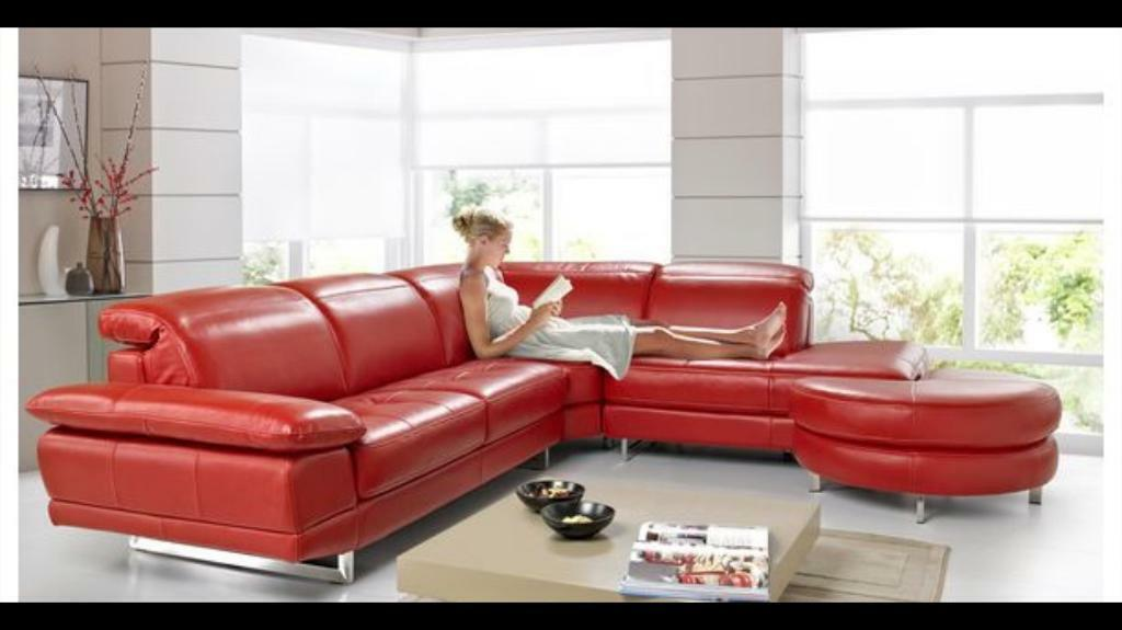 DFS Milan Leather Sofa Corner With Matching Armchair And Footstool