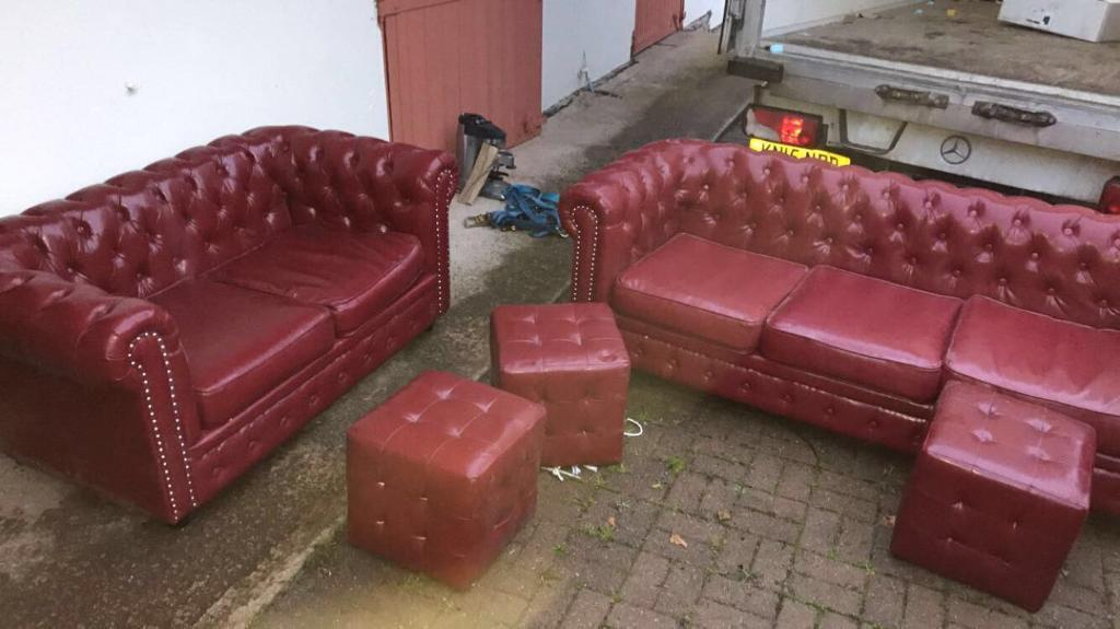 Chesterfield Sofas (2) Was £600 Faux Leather