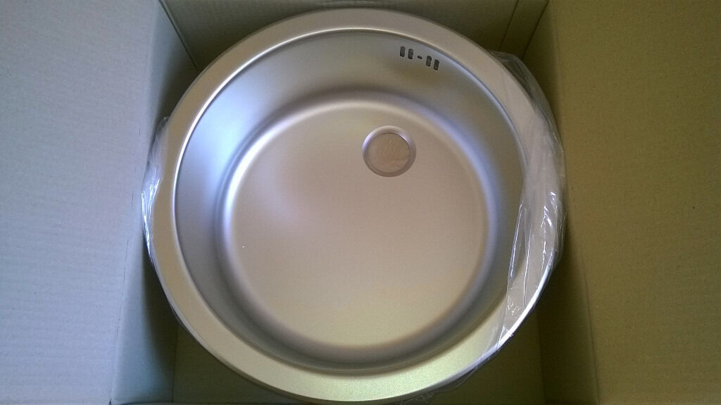 Brand New 430mm Round Bowl Stainless Steel Kitchen Sink From Wren Kitchens  With Fittings U0026 Template