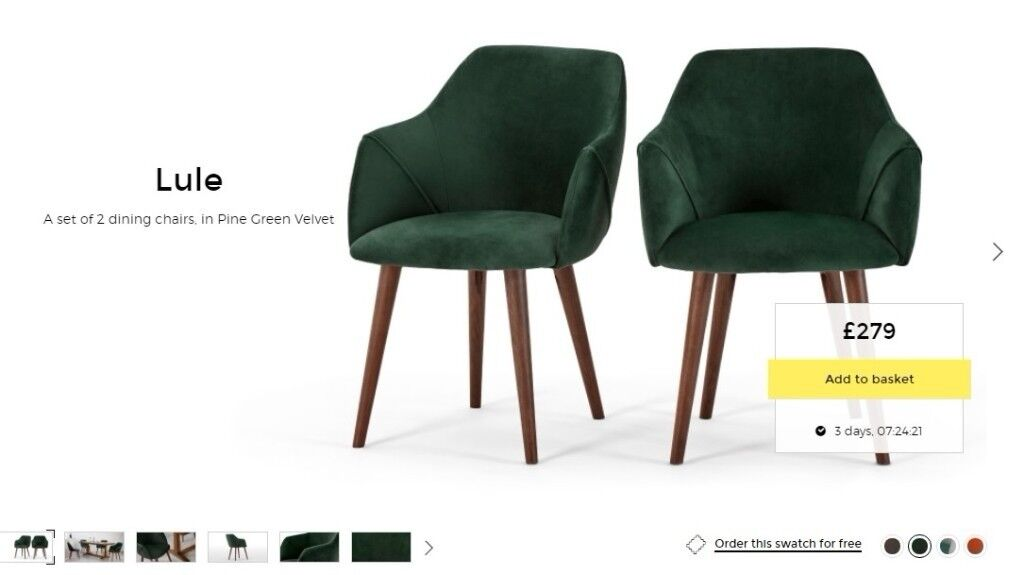 2 Made. com Lule Dining High Back Carver Chairs pine green velvet London  sc 1 st  Gumtree : london chairs - Cheerinfomania.Com