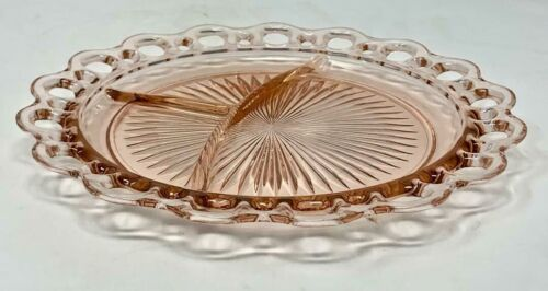 """Pink Depression Glass Lace Edge 3 Section Plate 10 1/2"""" Colonial Anchor Hocking"""