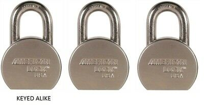 American Lock Width X 1-18 Thickness Solid Steel Body Lot Of 3 Keyed Alike