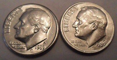 1989 P & D ROOSEVELT DIME SET 2 COINS