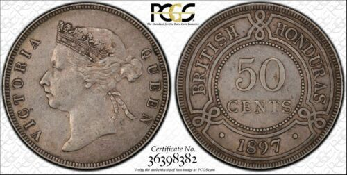 British Honduras 1897 Victoria Fifty Cents, 50 Cents. PCGS XF- 45. 20,000 Minted
