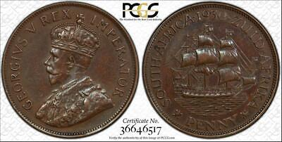 "1930 SOUTH AFRICA 1 PENNY PCGS GENUINE UNC DETAILS ""CLEANED"" OLD COIN"