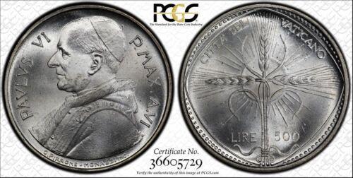 1968 MS66 Vatican Silver 500 Lire PCGS FAO KM# 107 Pope Paul VI blast white!