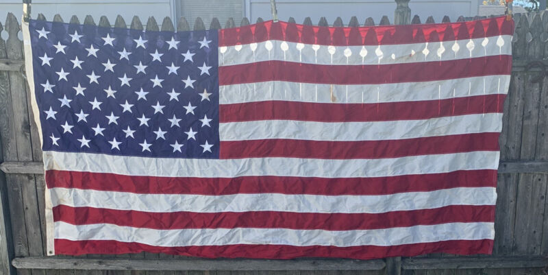 Vintage 50 Star American Flag LARGE USA Made 5 x 9-1/2 100% Cotton Bunting