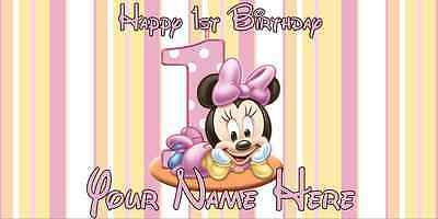 Birthday banner Personalized 4ft x 2 ft  Disney Minnie Mouse 1st Birthday (Minnie Mouse Personalized Banner)