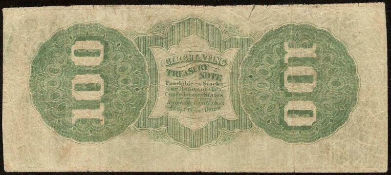 1862 $100 DOLLAR BILL CIVIL WAR CONFEDERATE STATES CURRENCY NOTE BETTER T49 PF-1