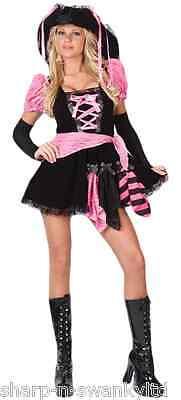 Rosa Piraten-kostüme (Damen 4 Teile Sexy Rosa Punky Piraten Jungesellen Kostüm Kleid Outfit UK 12-14)