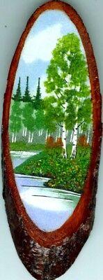 Landscape Painting Genuine Semi-Precious Gems Russian Siberia Artisan Summer