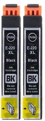 2 T220XL Black Remanufactured Ink Cartridges for Epson Workforce WF2630 WF2650