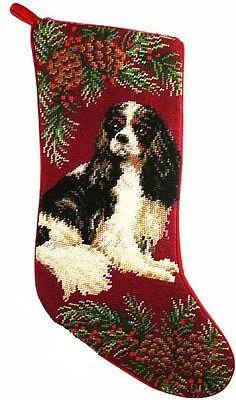 Tri Cavalier King Charles Spaniel - Tri Color Cavalier King Charles Spaniel Dog Christmas Needlepoint Stocking - 11