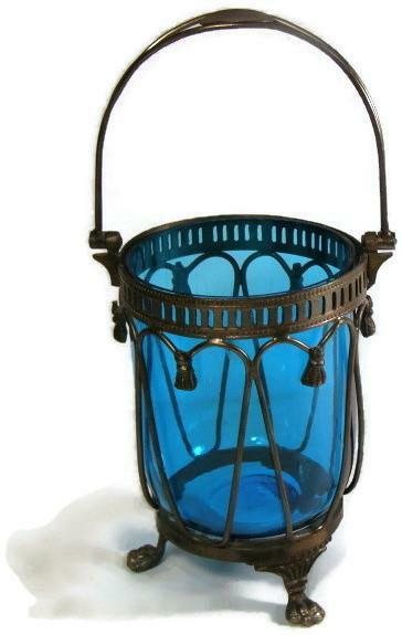 Antique Blue Bohemian Glass Fairy Light Lamp with Pewter Frame