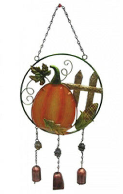 Pumpkin, Corn & Leaves Wall Hanging with Bells Thanksgiving Autumn Home Decor - Pumpkin With Leaves