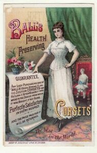 Victorian Trade Card   BALL'S CORSETS, Chicago, IL, Mfg / Sold in Chateaugay, NY