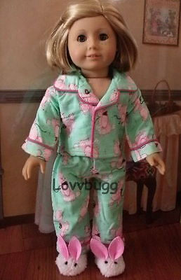"""Flannel Poodle Pajamas for 18"""" American Girl Doll Clothes"""