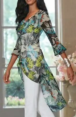 Midnight Velvet Fly Far Tunic Top NEW size Large Butterfly Print  ()