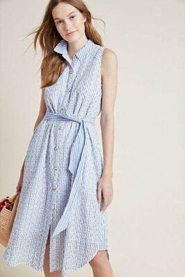 BY ANTHROPOLOGIE Sz 4 Kismet Blue Stripe Eyelet Sleeveless Dress Shirtdress Belt