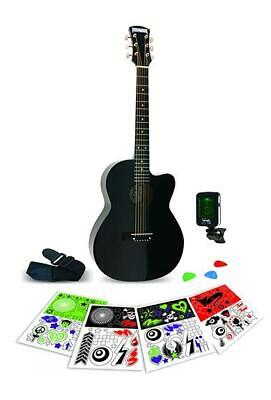 Rockwood 3/4 Acoustic Guitar Package with Tuner, Strap, Picks & Stickers Black