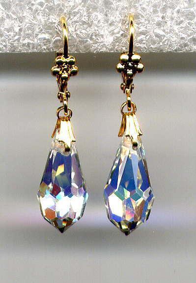 CRYSTAL AURORA BOREALIS AB Teardrop BRIOLETTE Earrings 14K Gold gp *Vtg Czech