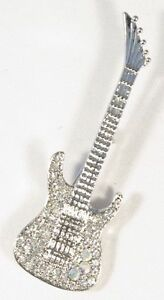 Brooch Electric Guitar Clear Crystals Silver Musical Gift Present Pin Badge