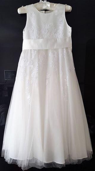 RJR.John Rocha Girls' ivory floral embroidered dress, size 8yrs