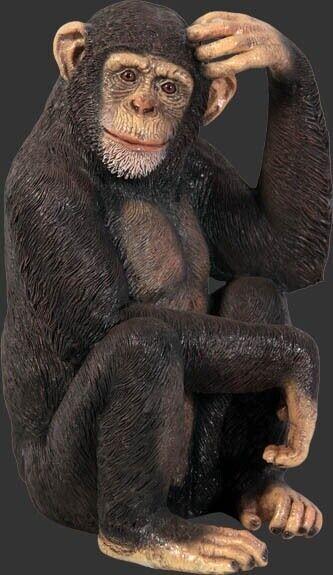 Monkey Statue - Life Size Chimpanzee Statue - Life Like Chimp Monkey - 2.5 ft.