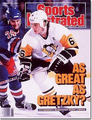 February 6, 1989 Mario Lemieux, Hockey Pittsburgh Penguins Sports Illustrated
