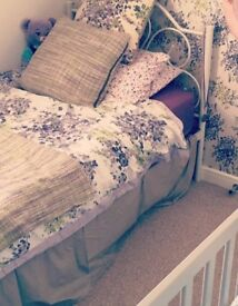 White metal single bed with mattress (if required)