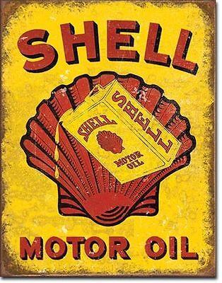Shell Tankstellen Metall Werbung Schild im Vintage Kanister Design Retro Reklame