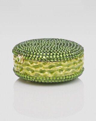 Judith Leiber Pastillero Caja de Píldora Macarons Verde Peridoto Oliva Cristal