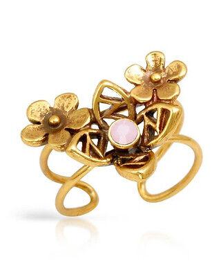 NEW PILGRIM SKANDERBORG, DENMARK Pink Crystal Flower Toe Ring