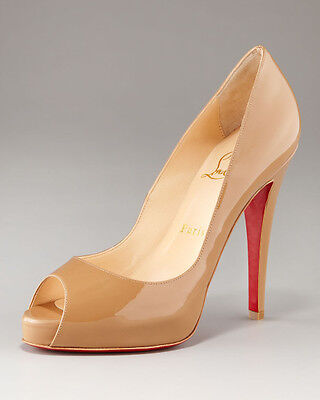 100% AUTH NEW WOMEN LOUBOUTIN VERY PRIVE 120 CAMEL PATENT HEELS/PUMPS US 10