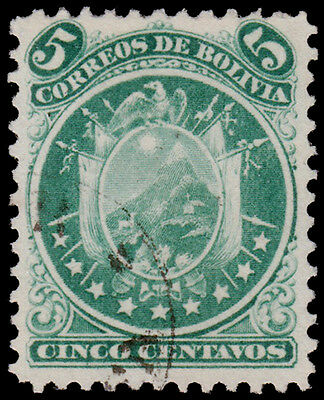 Bolivia Scott 10 (1868) Used H F-VF, CV $18.00