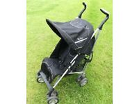 """Silver Cross """"Pop"""" Buggy / Pushchair / Stroller with Graco rain cover - Black & Silver"""