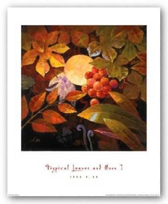 Jung Tropical Print - Tropical Leaves and Moon I Jung K An Art Print 16x16