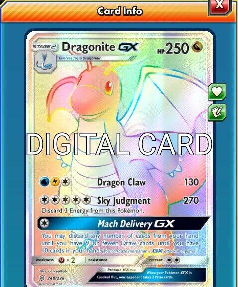 Dragonite GX 67//70 Full Art Dragon Majesty Trading Card PTCGO Digital Card