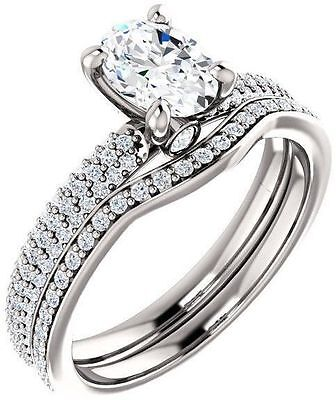 1.12 ct total Oval & round Diamond Engagement Wedding 14k White Gold GIA E VS1