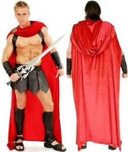 ADULT SPARTAN WARRIOR 300 ROMAN GREEK GLADIATOR THOR SUPERHERO COSTUME RED CAPE