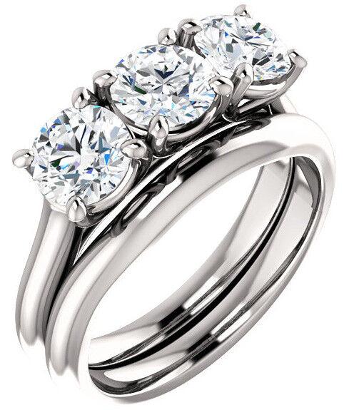 1.80 carat 3 Stone Round Diamond GIA D IF clarity Lucida Ring 14k White Gold
