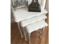 Set Of Three Shabby Chic White Side Tables